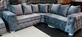 Grey Velvet Chesterfield corner sofa New free local delivery