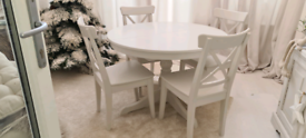 Dining table extendable and 6 chairs used