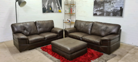 3&2 Seater Leather Sofa Set With Large Foot Stool