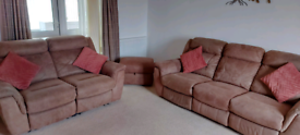 3 + 2 manual recliner sofas and storage footstool.