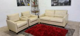 John Lewis - 3 Piece Italian Leather Sofa Set