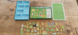 Rare vintage Fuzzy Felt Woodland story sammy squrriel boxed