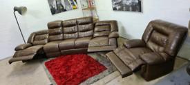 DFS - Italian Leather 5 Seater Recliner Sofa & Armchair - Full Set