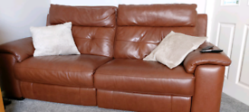 Leather, Electric double recliner 3 seater settee and chair
