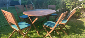 Teak folding garden table and chairs