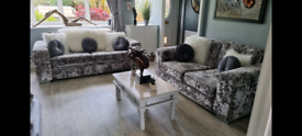 Stunning silver crushed velvet sofology 3 seater and 2 seater sofas.