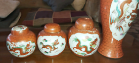 Vintage Oriental ginger jars x3 and 1 large matching temple jar