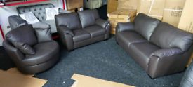 Brown real Italian leather 3&2 seater with swivel cuddle chair free lo