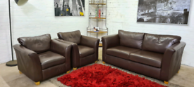 M&S - 3 Piece Italian Leather Sofa Set - Only £299!!