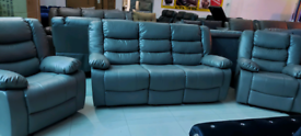Grey Bonded Leather 3+1+1 Seater Sofa set New free local delivery