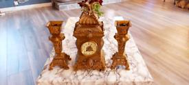 Samuel marti antique clock set gilt bronze 19th century