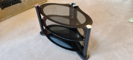TV stand - oval glass / black