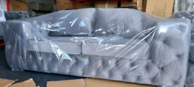 Grey plush velvet 3 seater Chesterfield sofa New free local delivery