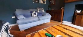 Blue faux suede sofa - free to collect
