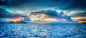 "Bora Bora Sunset ocean landscape view - 42"" x 18"" LARGE poster"