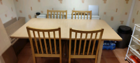 Dinning table with 6 Chairs- Extendable 50cm