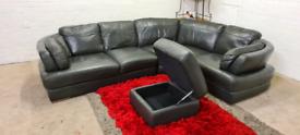 CSL - GREY Leather L-Shape Corner Sofa With Storage Foot Stool