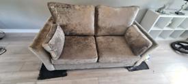 Silver Crushed velvet 2 seat sofa