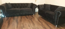 Black Velvet Chesterfield 3&2 seater sofa set New free local delivery
