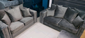 Grey plush velvet 3&2 Seater sofa set New free local delivery