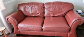 Sofa Bed - 3 Seater - Rust Colour Leather - FREE TO COLLECTER