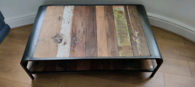Coffee table made from reclaimed wood from fishing boats