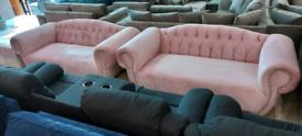 Pink Velvet Elegance Italian sofa 3+3 Seater with Stool