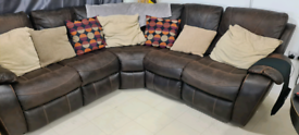 Brown Corner Sofa with recliners