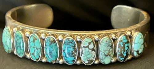 Best! Navajo Kirk Smith Hand Made Exceptional Row Bracelet w 9 Natural Turquoise