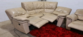 DFS - Italian Leather Electric Recliner L-Shape & Armchair