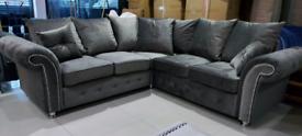 Grey Velvet Corner Sofa also available as 3&2 Seater set