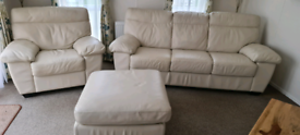 Real leather light cream sofa, chair and storage footstool