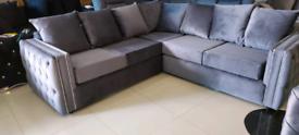 Grey plush diamonte Corner Sofa New free local delivery
