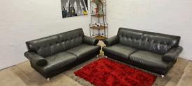 ScS - Grey Italian Leather 2x3 Seater Sofa Set