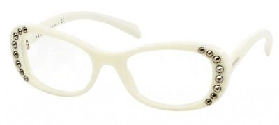 $402 PRADA WOMEN WHITE EYEGLASSES FRAMED GLASSES OPTICAL LENSES BIFOCAL ITALY PR