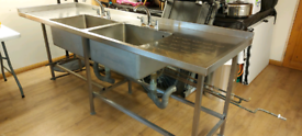 Commercial stainless steel double sink