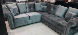 Grey Velvet Corner Sofa New free local delivery available
