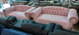Pink Chesterfield 3&3 Seater Sofa with stool New free local delivery