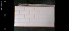 Millenium White Gloss Brick effect Ceramic Wall tile, Pack of 6, (L)60
