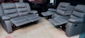 Grey Fabric 3&2 Seater Recliner Sofa Set Free local delivery