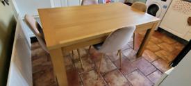 Oak veneer table and 4 chairs