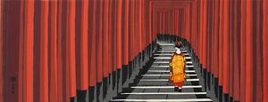 Tenugui Japanese Fabric Cotton 'Maiko Geisha & Fushimi Inari Shrine Torii Gates'