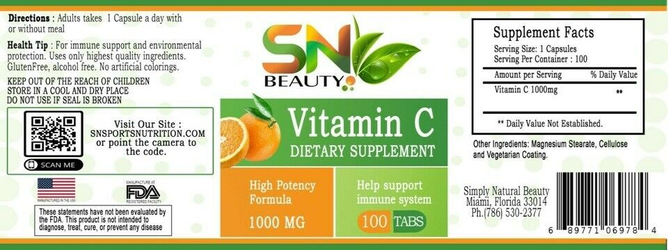 Vitamina C 1000MG Fortalece Sistema Inmune aumenta defensa Vitamin C 100 tablets 2