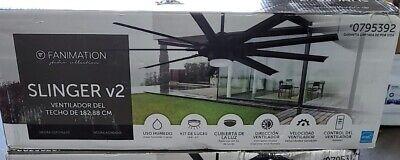 """FANIMATION Slinger v2 72""""-in Matte black LED Indoor/Outdoor Ceiling Fan w-Remote"""