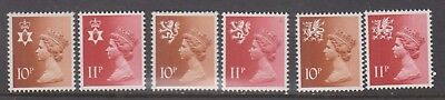 1976 Regionals N.Ireland, Scotland, Wales 10p and 11p MNH