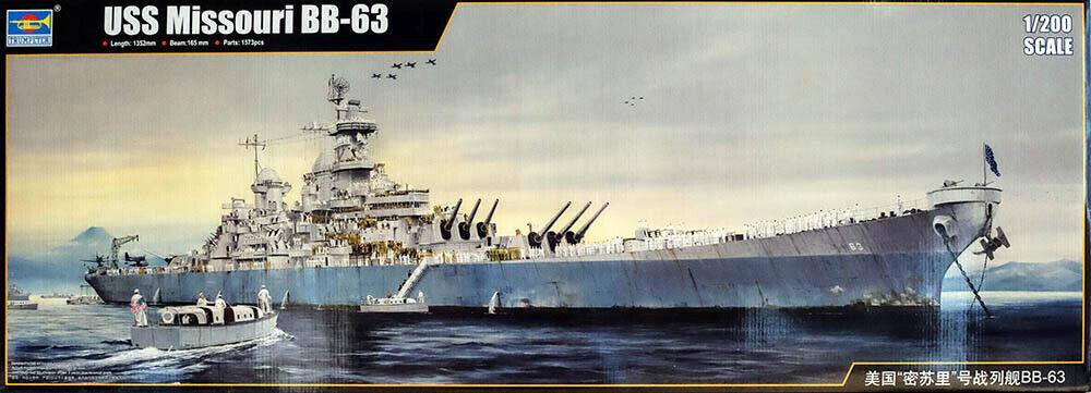USS Missouri BB-63 Navy Battleship Kriegsschiff 1:200 Model Kit Trumpeter 03705