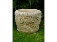 Huge Very Decorative Garden Stone Planter / can hold small tree 2 available