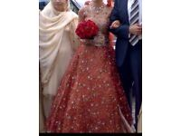 Traditional Red/Orange Asian Wedding Dress (Size 8)