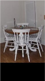 Solid pine round table & 4 chairs