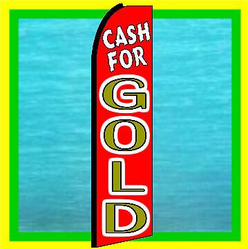 Cash For Gold Swooper Flag Advertising Sign Feather Bow Banner Flutter Brf177